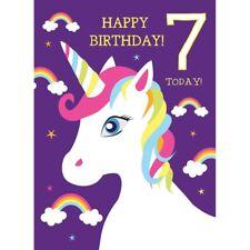 Girls 7th Birthday Card Unicorn & Rainbows Pink Purple Age 7 Pretty Glitter Card