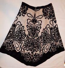 Boston Proper Brown Floral Velour & Ivory Print Asymmetrical Skirt XS Unique EUC