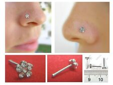 Small Thin Flower Clear Crystal Nose Stud Sparkly Crystals with Ball End