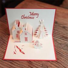 Fait à la main carte de voeux de Noël 3D château et bonhomme de neige