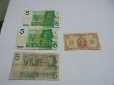Pays-Bas Nederland lot de 4 anciens  billets pour collection, tous les états.