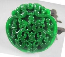"""green Jade pendant """"double pi yao"""" lucky mascot"""