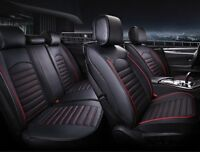 Universal High-Quality Deluxe Black Red PU Leather Full set Car SUV Seat Covers