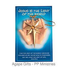 FE-OTC Christmas Religious Ornament - Jesus Light of the World - God's Hands
