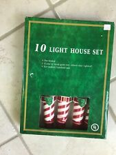 Lighthouse 10 String Lights  Beach Nautical Red white party deco