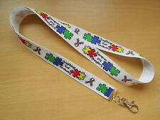 Autism Awareness Lanyard Anything But Ordinary Whistle Key ID Aspergers Handmade