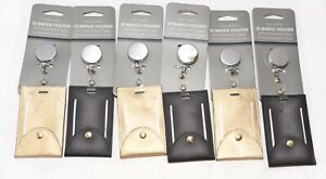 LOT OF 6 Eccolo Faux Leather ID Badge Holder NEW