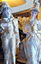 Antique Huge French Continental Gilded Porcelain Figurines, Couple.