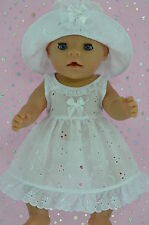 "Play n Wear Doll Clothes To Fit 17"" Baby Born WHITE BRODERIE ANGLAISE DRESS~HAT"