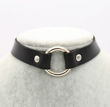 Women Punk Goth Handmade Chain Black PU Leather O-Ring Collar Choker Necklace UK