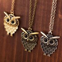 Vintage Owl Pendant Necklace Long Sweater Chain Jewelry Animal Charm Rhinestone