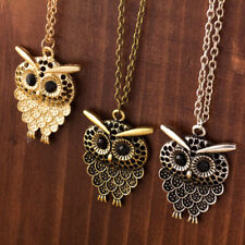 Vintage Owl Pendant Necklace Long Sweater Chain Jewelry Animal Charm Rhinestone