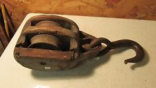 Antique Cast Iron and Wood Farm Pulley  No. 3