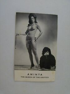 Vintage Original 1960's Burlesque Card, AMINTA Queen of the Exotics Dancer Photo
