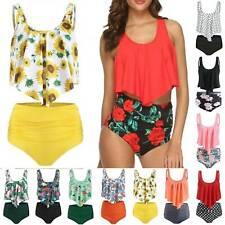 Women High Waisted Ruffled Bikini Tankini Summer Swimwear Swimsuit Bathing Suit