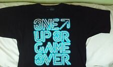 "NIKE  ""One Up Or Game Over"" Black W/ Blue Shiny Logo S/S Tee- Shirt Size Large"
