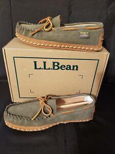 Men's Wicked Good L L Bean Slippers Moccasin Deerskin Lining Green Suede Size 9M