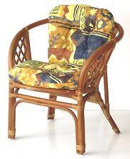 Lounge Chair Bahama ECO Handmade Natural Rattan Wicker ECO With Cushions,  Cognac