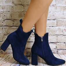 WOMENS BLUE BLACK GREY  ANKLE BOOTS FAUX SUEDE HIGH HEELS SHOES STRETCH SIZE