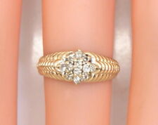 Uniquely Designed Petite 14K Yellow Gold .12 Ct Diamond Cluster Ring Size 4.25