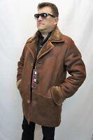 Cognac 100% Sheepskin Shearling Leather Sheepskin Men Coat Jacket Trench S-8XL