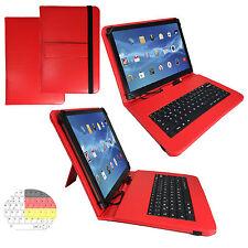 9.7 zoll Qwertz Tablet Tasche - Apple iPad Pro 9.7  Etui Hülle - Tastatur Rot