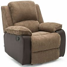 POSTANA BROWN JUMBO CORD FABRIC RECLINER ARMCHAIR SOFA LOUNGE CHAIR RECLINING