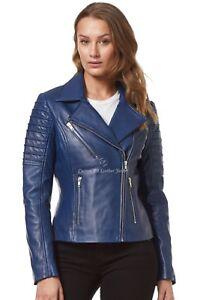 Ladies Real Leather jacket blue Designer Motorcycle Lambskin Biker Style 9334