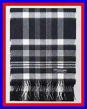 New Cashmere Scarf Black White Check Plaid Scottish Ghram Wool Infinity Men Z319