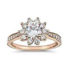 Round Cut Diamond Halo Engagement Ring 14k Rose Gold