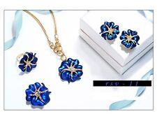 LUJO Joya Azul Set Collar & Pendientes de Botón Oro Amarillo y Cristal Regalo