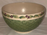 "Pfaltzgraff JAMBERRY 9 1/2"" ROUND GREEN BASKETWEAVE MIXING SALAD BOWL"