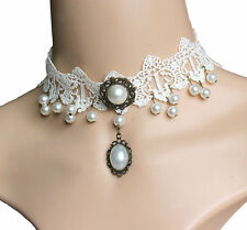 Elegant Pearl Choker White Lace Pendant Necklace Women's Fashion Jewelry Gift