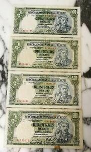 LOT OF 4 URUGUAY 500 PESOS 1939 BANKNOTES