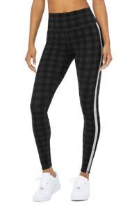 ALO Yoga Occasion Legging Black Gray Plaid Size L