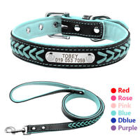 Braided Leather Personalized Dog Collar Leash set ID Tag Engraved Walking Lead