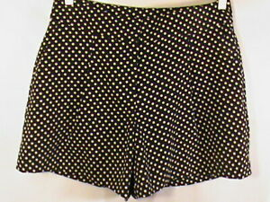 ANN TAYLOR shorts women's-2 black polka dot beige casual-dress-shorts NWT