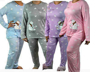 Ladies Pyjama Sets Long Sleeve Cotton Blend Top Nightwear Womens pj LoungeWear