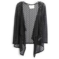 California Moonrise NWOT black knit open cardigan crochet S small boho beach
