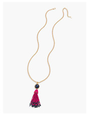 TALBOTS Cabochon & Seed-Bead Tassel Necklace