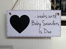 Personalised Baby Countdown Chalkboard Plaque - New Baby Count Down Sign Gift W1