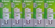 5x E-Saver, Energy Saving CFL Light Bulbs, Spiral, 15w, Cool White, B22 Bayonet