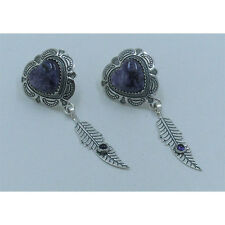 925 Sterling Silver Natural Purple Charoite Amethyst Heart Feather Earrings