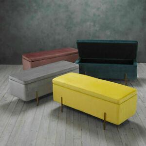 Lola Velvet Grey, Mustard, Leopard Pink Teal Ottoman Storage Bench / Blanket Box