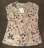 NWT WITCHERY 2018 Current Floral Print Linen T-shirt/Top Sz M/12-14 $70 NEW