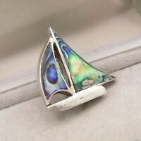 Vintage 925 Sterling Silver Brooch Pin Abalone Shell Yacht