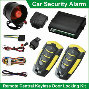 Car Alarm Security System Central Locking Kit with Siren+2 Remotes+Shock Sensor