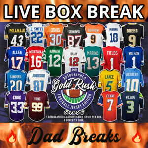 NEW ENGLAND PATRIOTS Gold Rush autographed/signed football jersey LIVE BOX BREAK