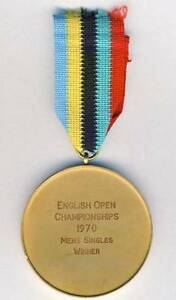 1970 ENGLISH Open TABLE TENNIS Championships 1st Place WINNER MEDAL!!! ping pong