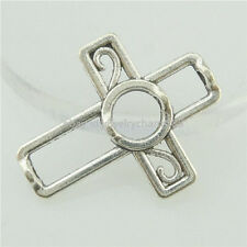 16786 25PCS Antique Silver Faith Religious Christian Cross Spacer Beads Frame